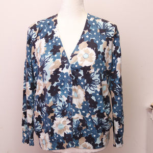 Basic Editions  blue sweater with flowers size L